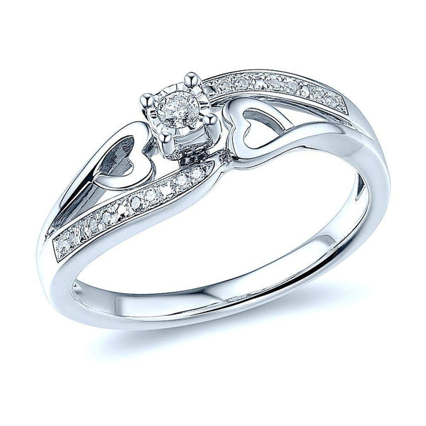 Diamond Promise Ring Sterling Silver 1/10 cttw