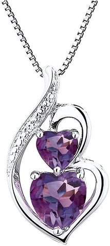 Amethyst Necklace Heart in Sterling Silver with Diamond Accent - 18 Inch Box Chain