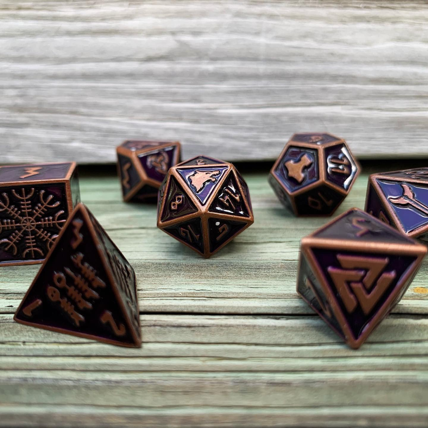 Clockwork Dragon - Norse Themed Metal Dice Set