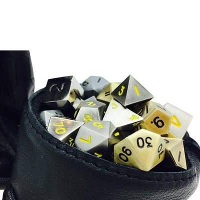 Black Dragon Scale Leather Dice Bag / Dice Cup Transformer