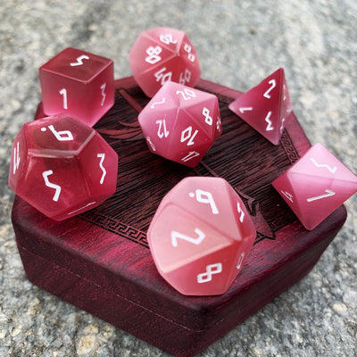Pink Cats Eye 7 Piece RPG Dice Set Gemstone