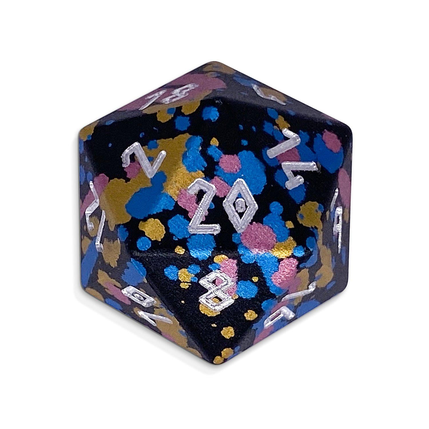 Single Wondrous Dice® D20 in That 70s Die by Norse Foundry 6063 Aircraft Grade Aluminum