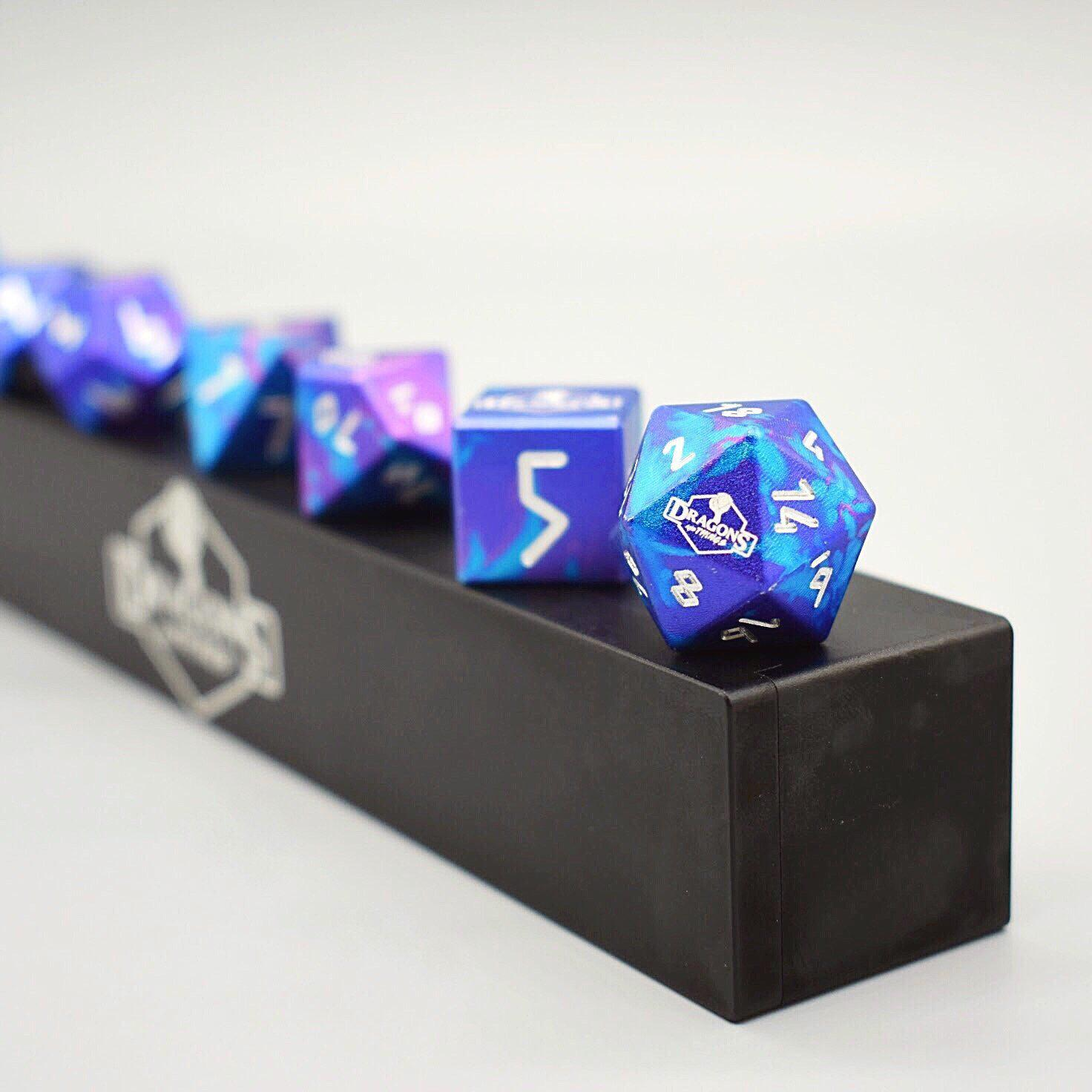 Dragons and Things Time Warp - Precision CNC Aluminum Dice Set with Dice Vault