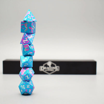 Dragons and Things Miami Dice - Precision CNC Aluminum Dice Set with Dice Vault