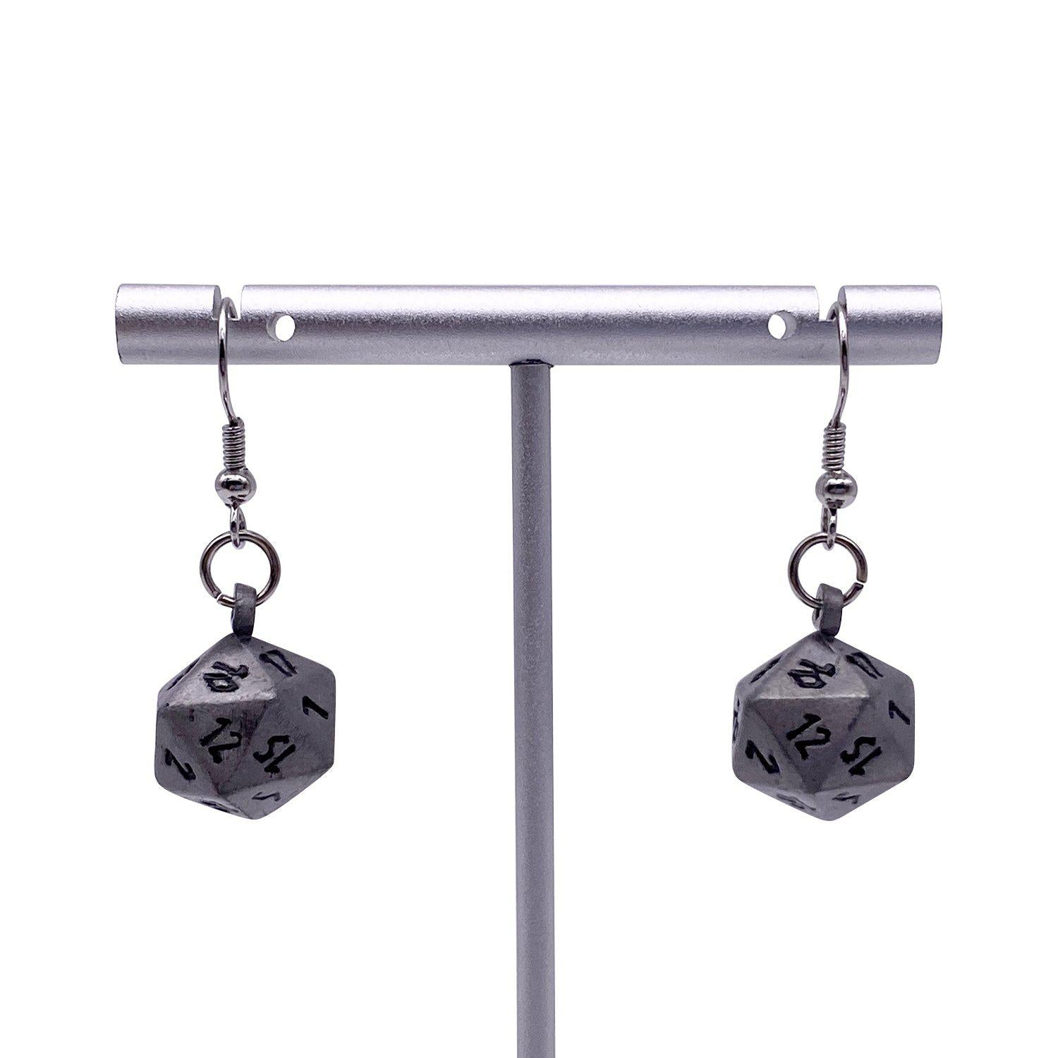 Aged Mithiral - Ioun Stone D20 Dice Earrings by Norse Foundry