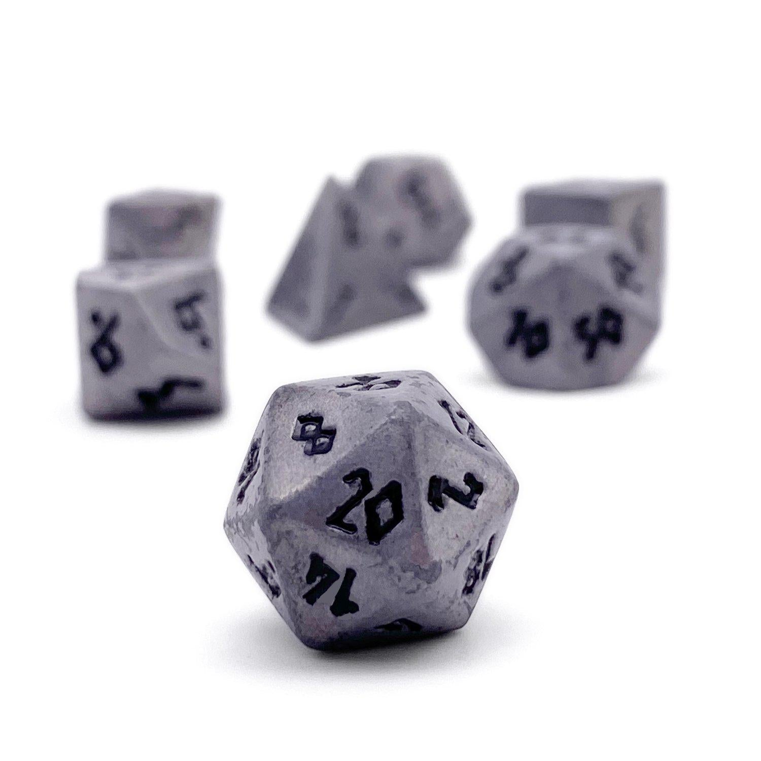 Aged Mithiral Pebble ™ Dice - 10mm Alloy Mini Polyhedral Dice Set