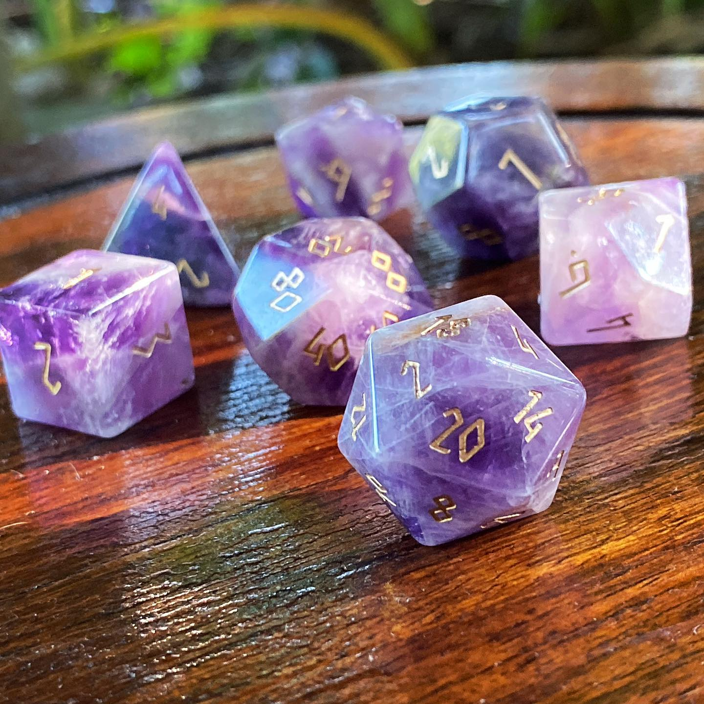 Amethyst 7 Piece RPG Dice Set Gemstone