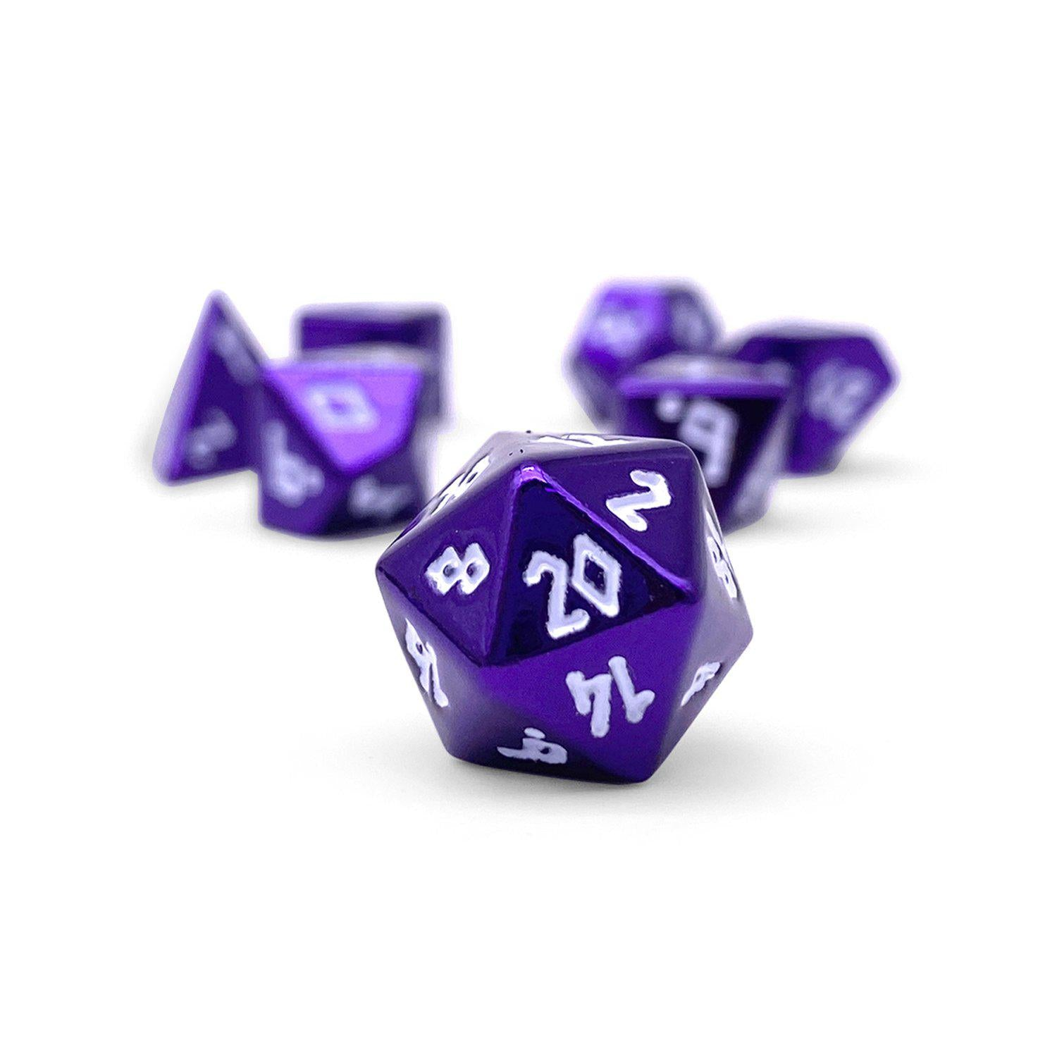 Bardic Purple Pebble ™ Dice - 10mm Alloy Mini Polyhedral Dice Set