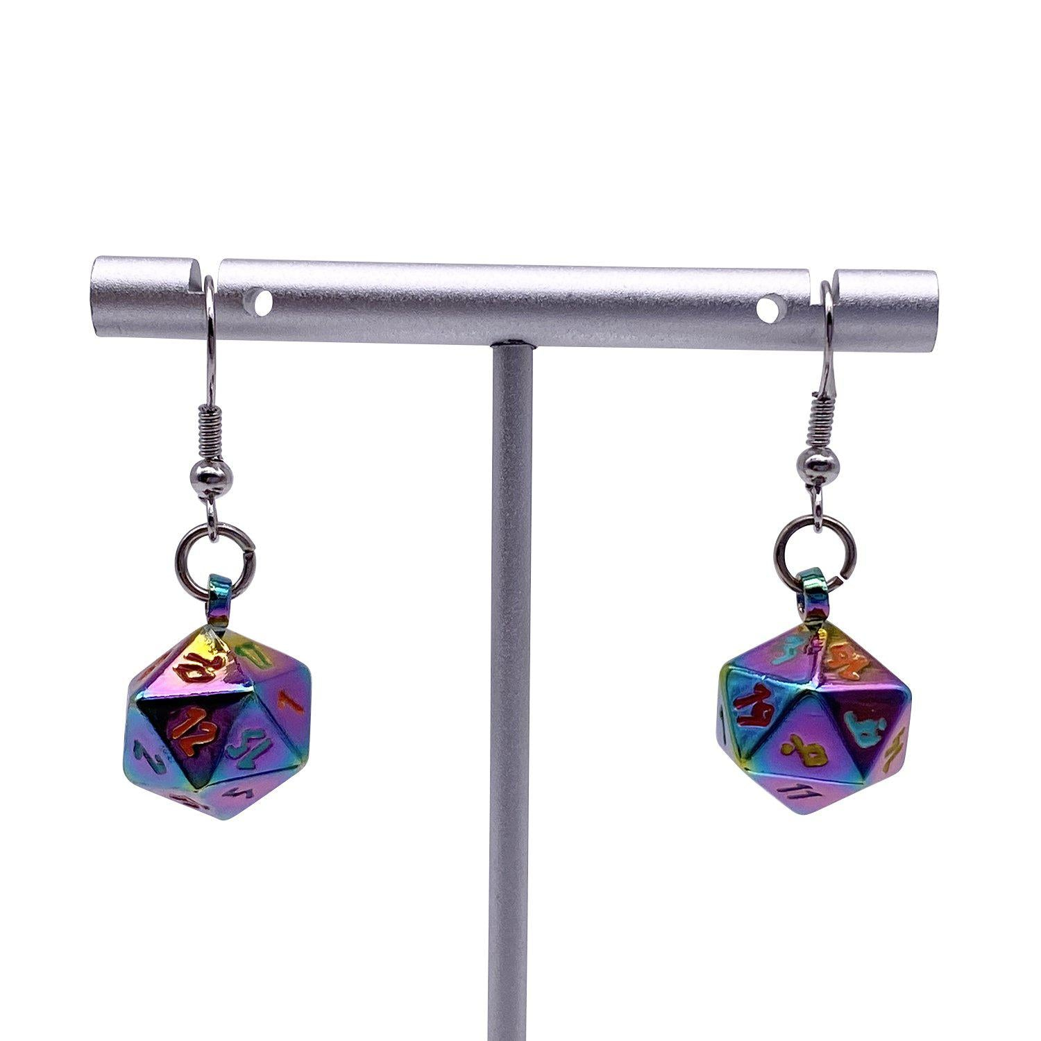 BiFrost - Ioun Stone D20 Dice Earrings by Norse Foundry