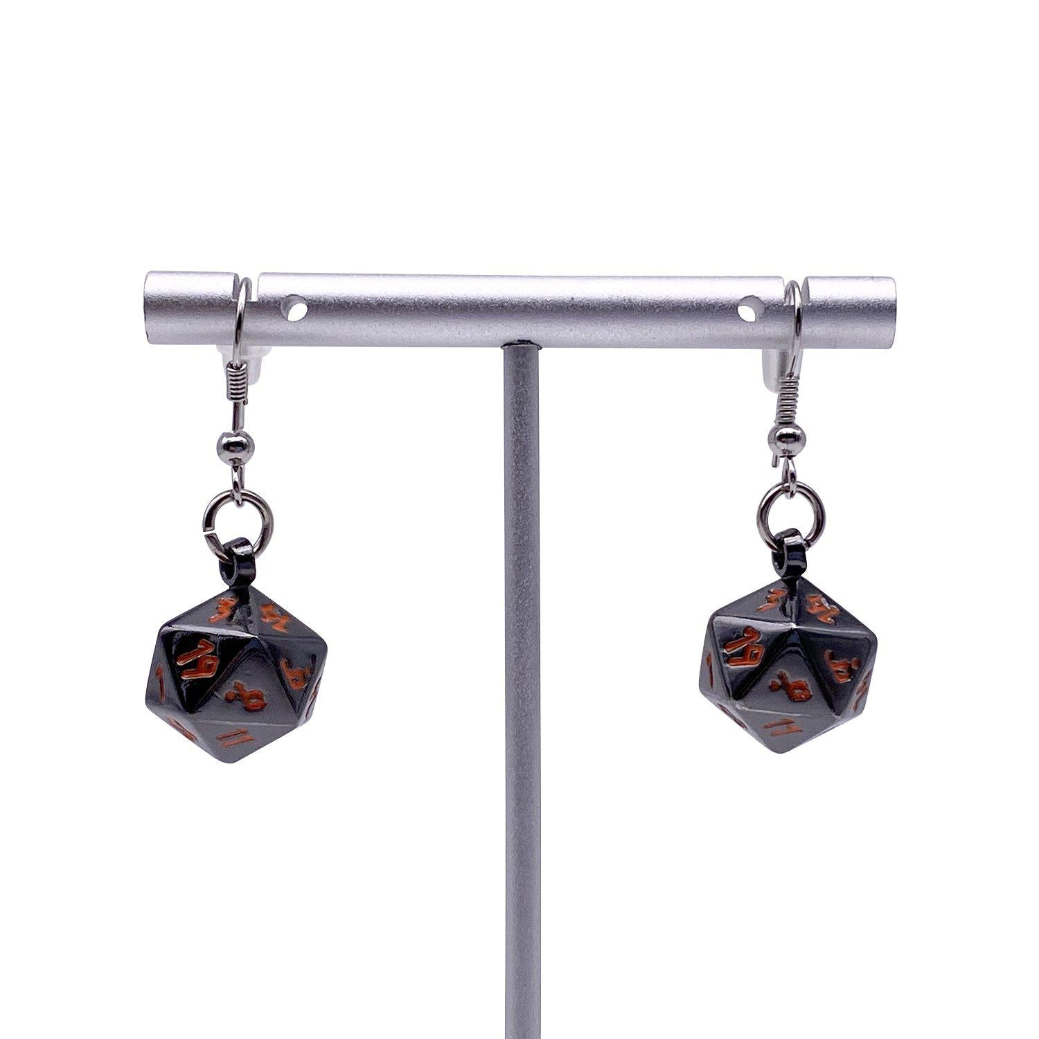 Black Lava - Ioun Stone D20 Dice Earrings by Norse Foundry