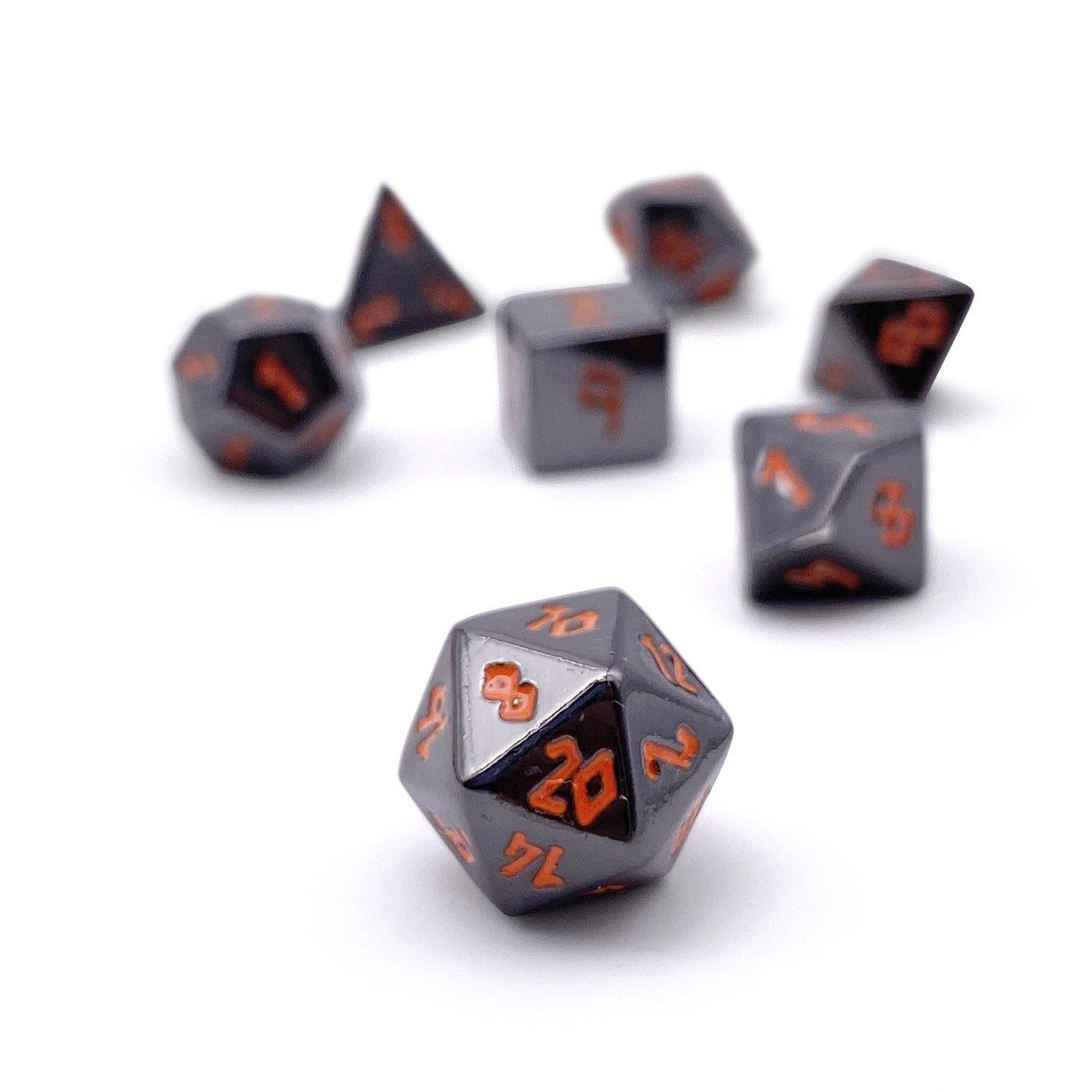 Black Lava Pebble ™ Dice - 10mm Alloy Mini Polyhedral Dice Set