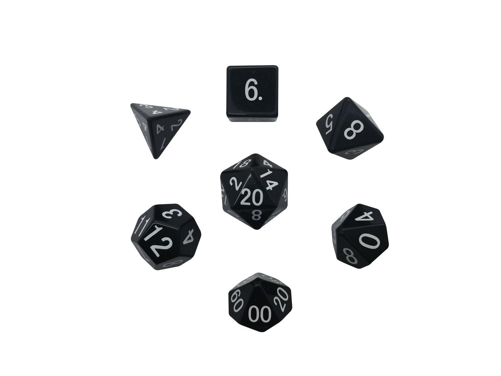 Regular Font Black Obsidian 7 Piece RPG Dice Set Gemstone