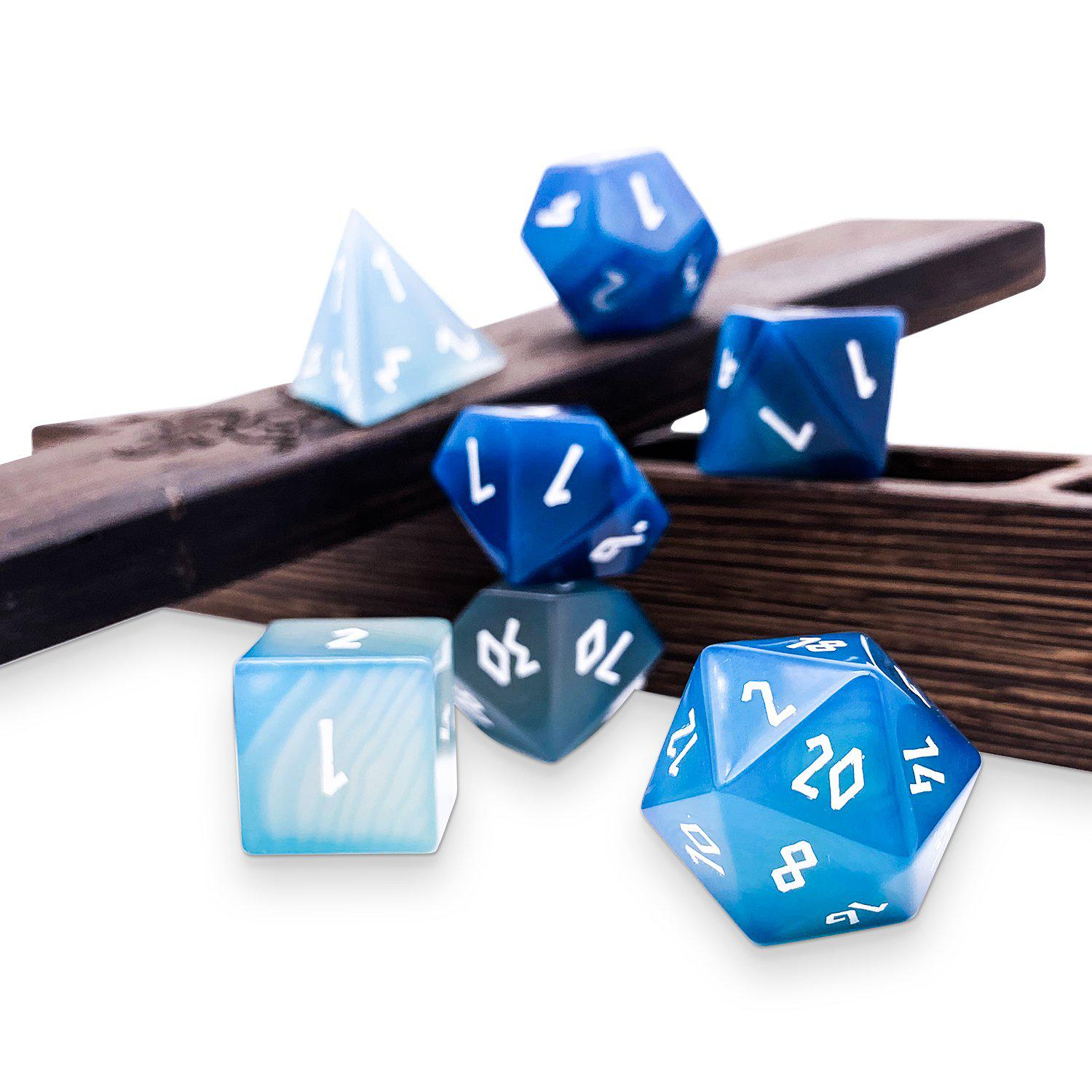 Blue Striped Agate 7 Piece RPG Dice Set Gemstone