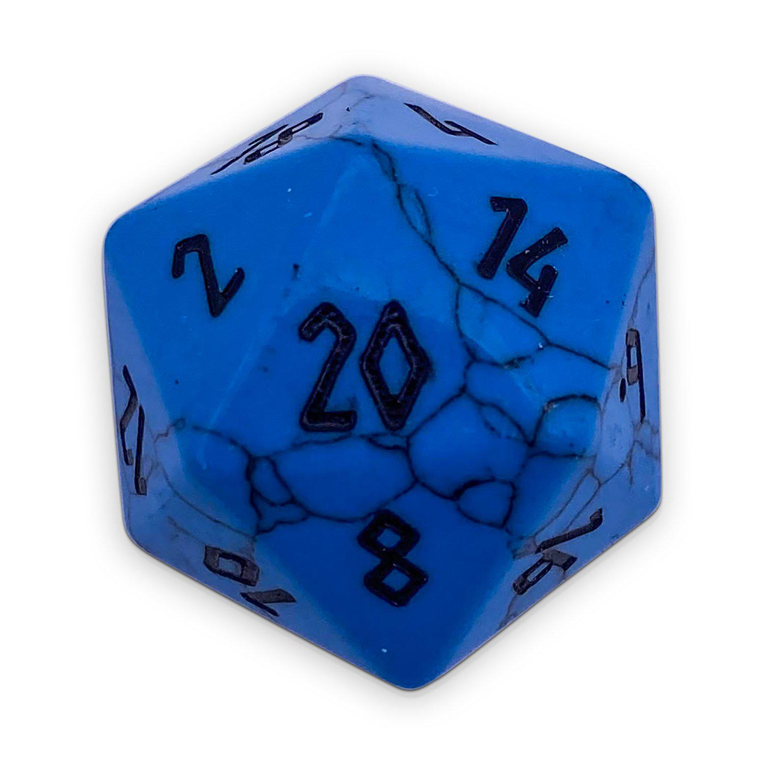 Blue Turquoise - Single D20 - Gemstone Dice