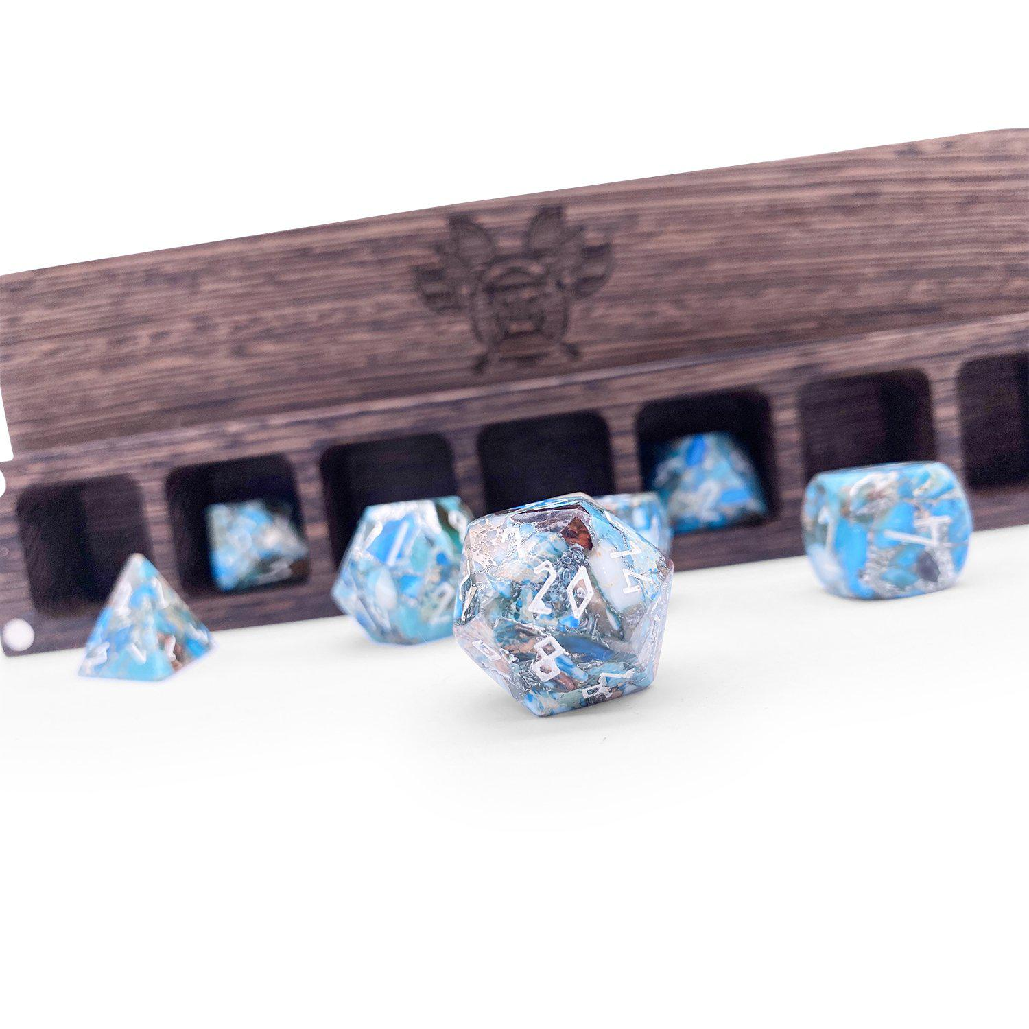 Silver Blue Imperial Jasper TruStone 7 Piece RPG Dice Set Gemstone