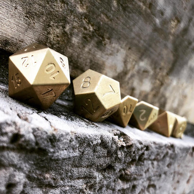 Set of 7 Brass RPG Dice by Norse Foundry Polyhedral Dice Set