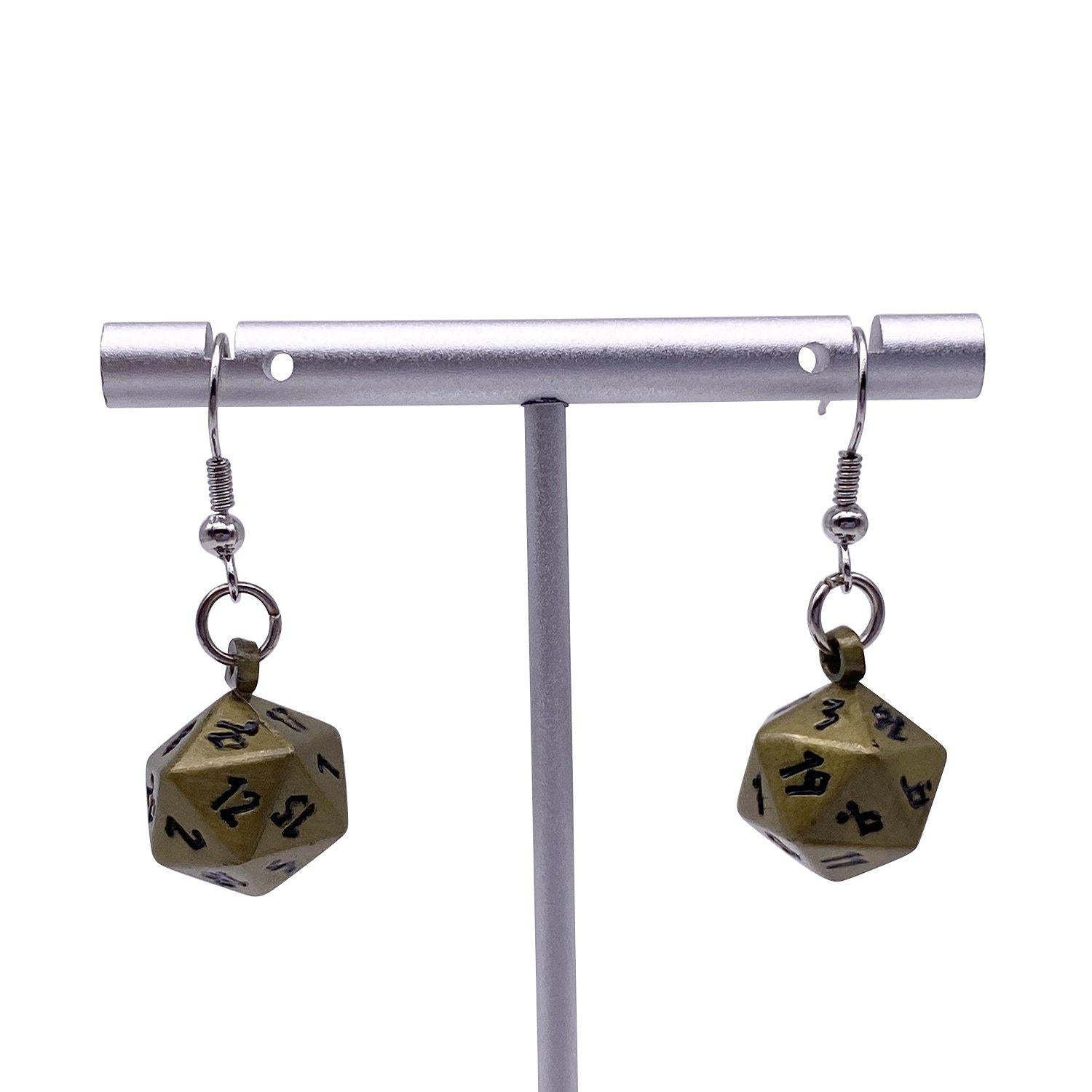 Bronze Dragon Scale - Ioun Stone D20 Dice Earrings by Norse Foundry