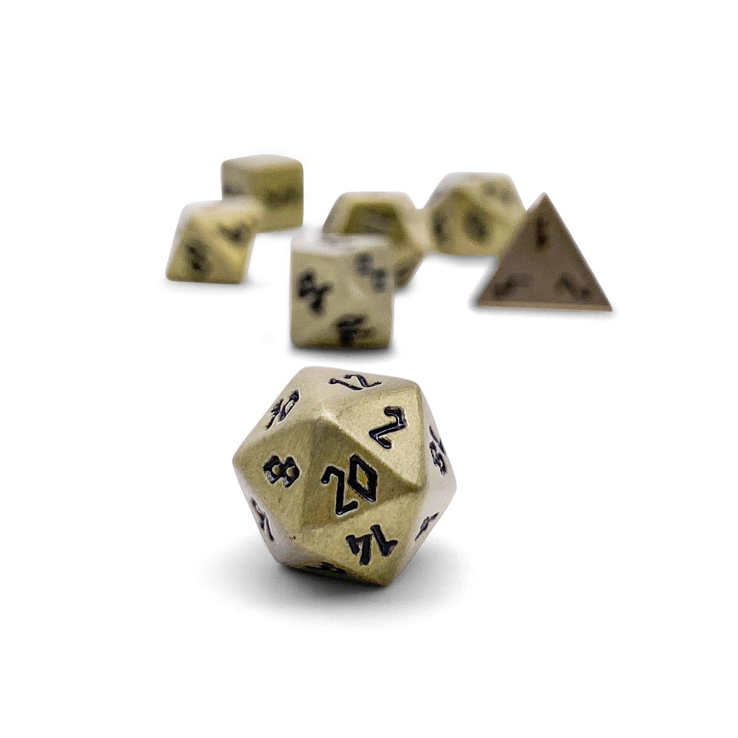 Bronze Dragon Scale Pebble ™ Dice - 10mm Alloy Mini Polyhedral Dice Set