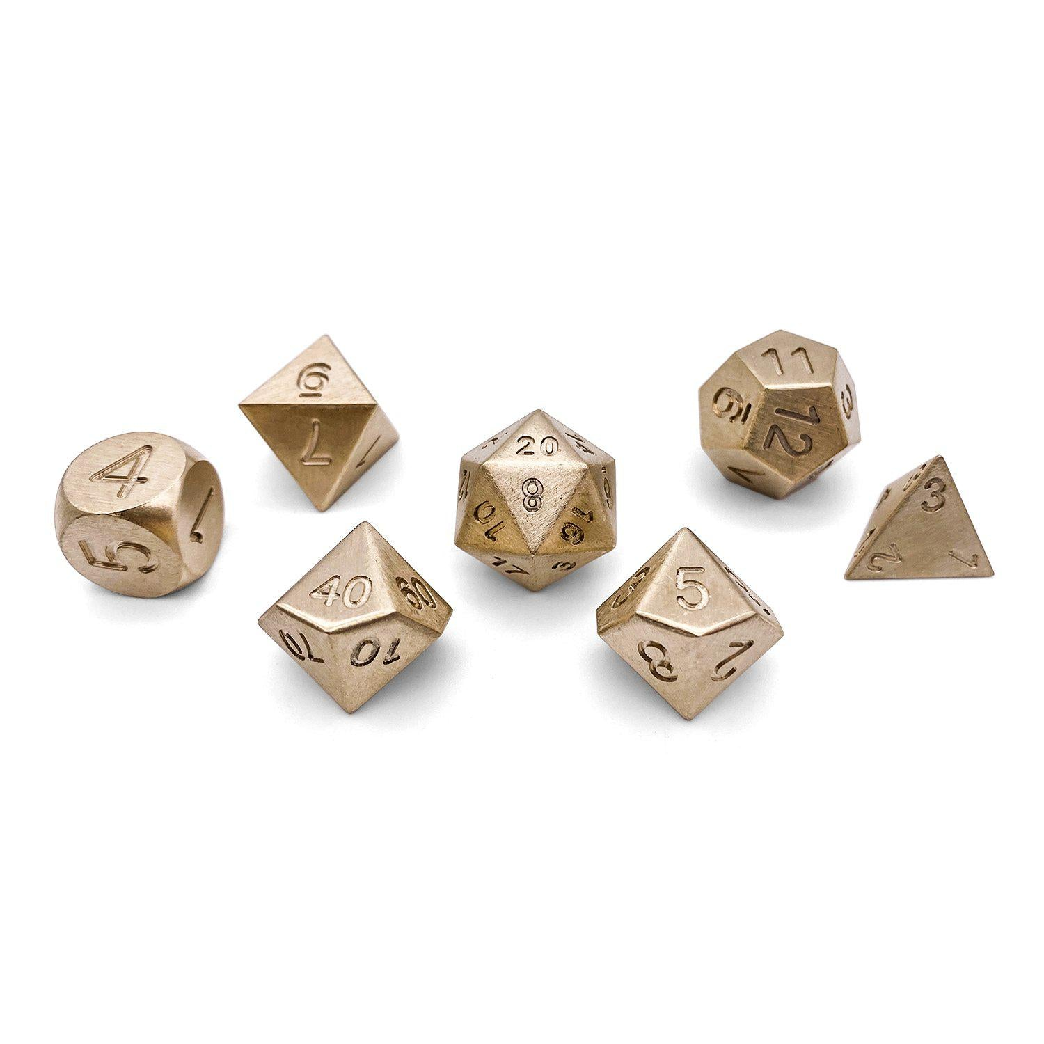 Set of 7 Bronze RPG Dice by Norse Foundry Polyhedral Dice Set