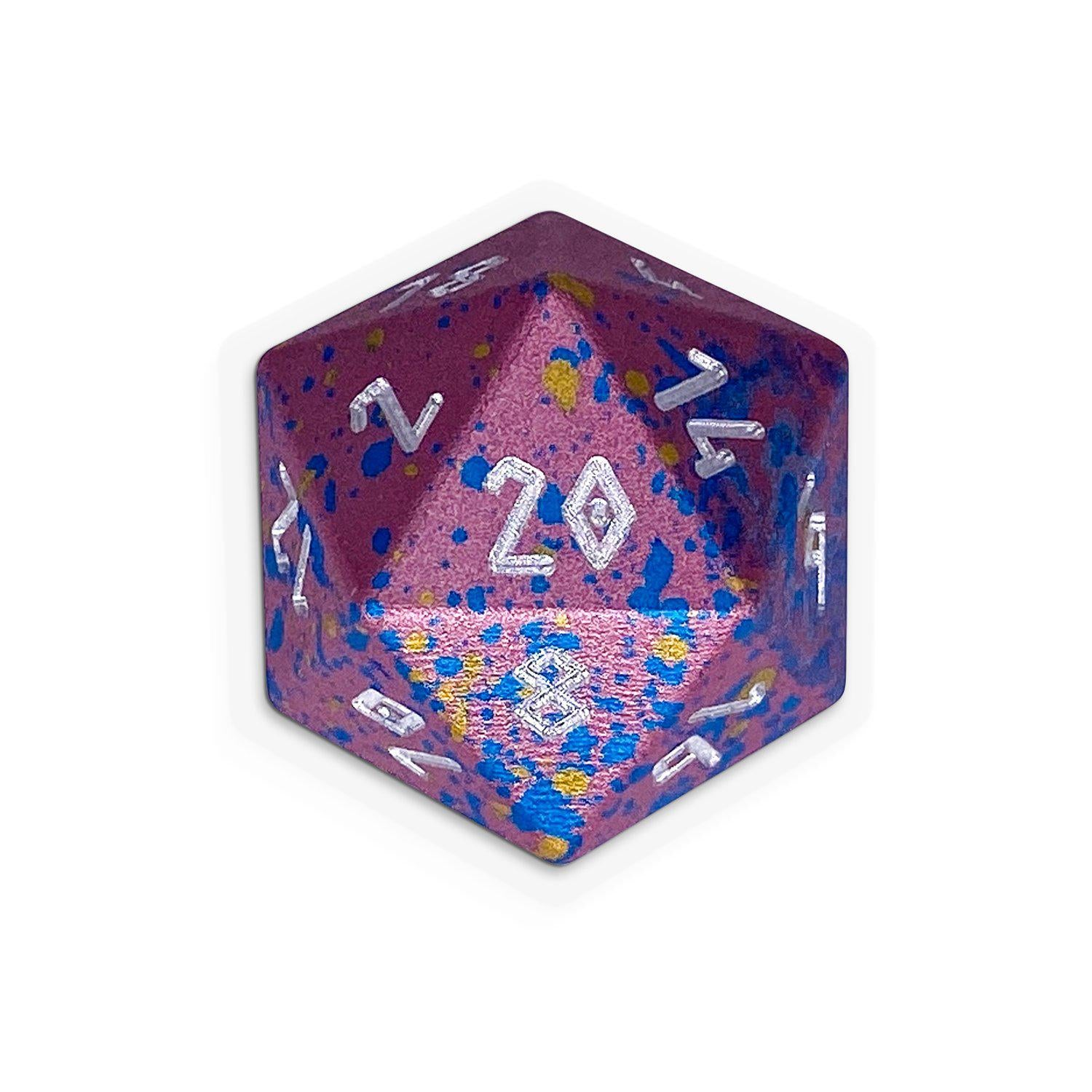 Bubblegum - Single D20 Wondrous 20mm 6063 Aircraft Grade Aluminum Metal Die