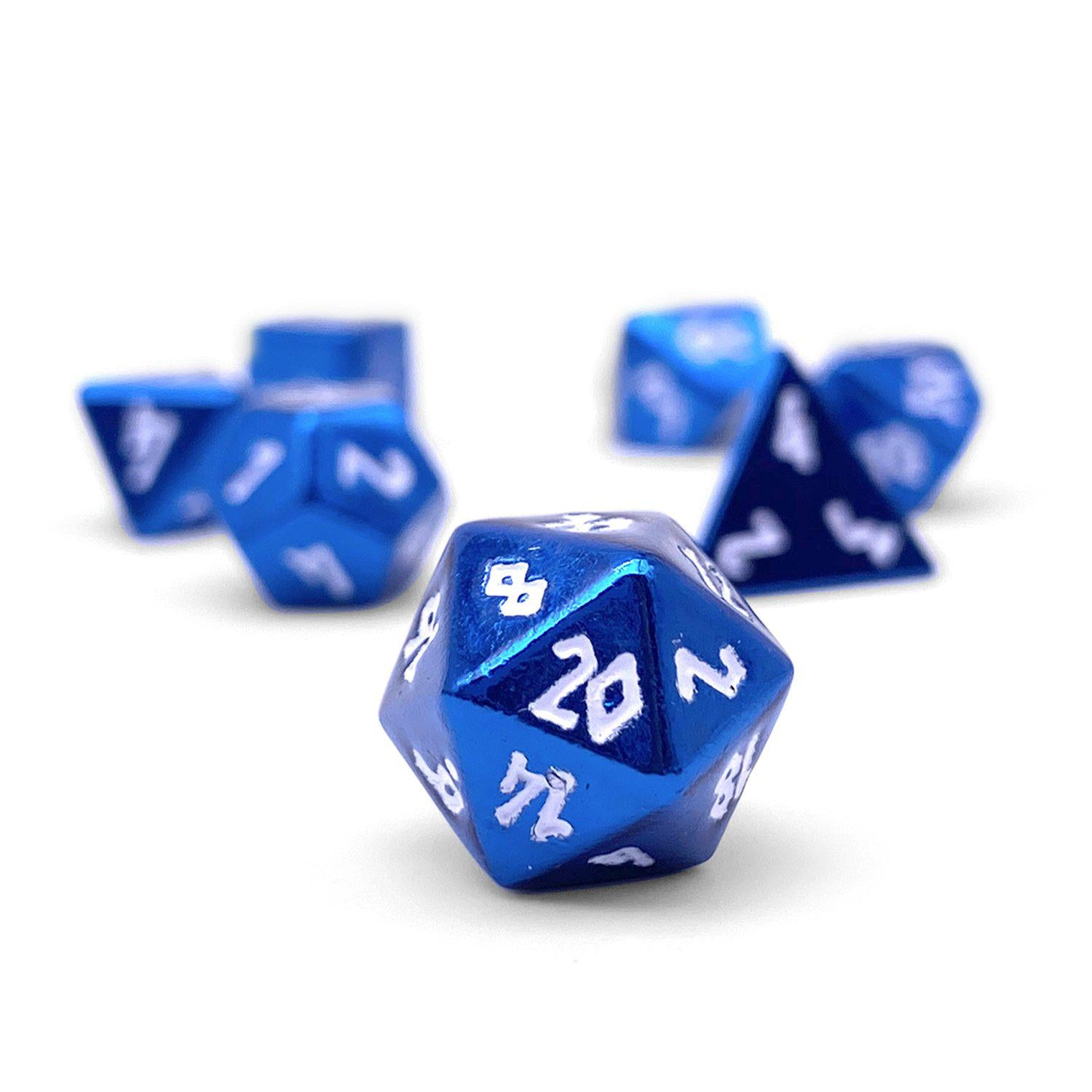 Celestial Blue Pebble ™ Dice - 10mm Alloy Mini Polyhedral Dice Set