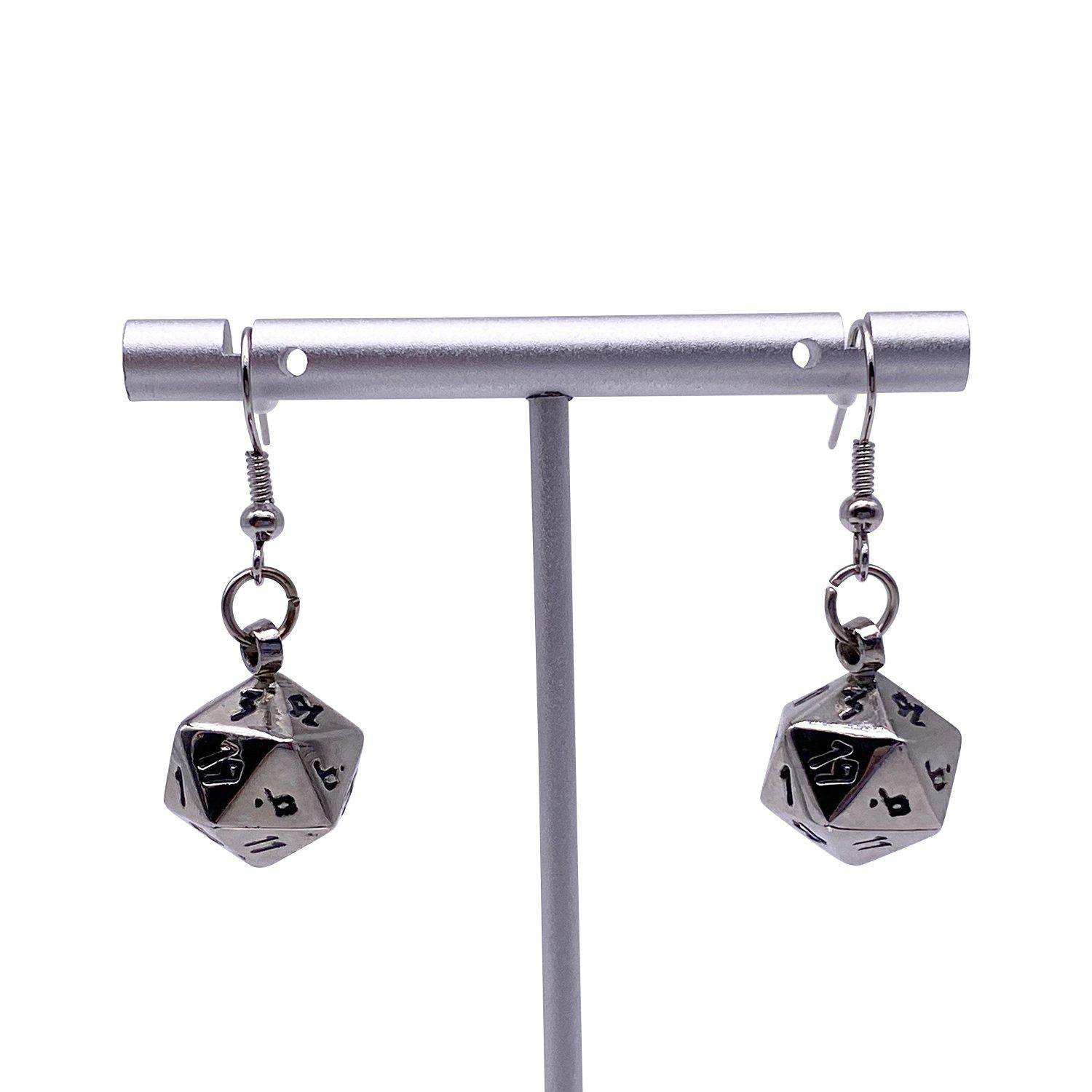 Chainmail - Ioun Stone D20 Dice Earrings by Norse Foundry