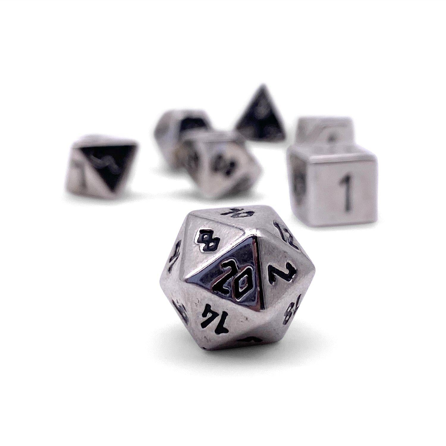 Chainmail Silver Pebble ™ Dice - 10mm Alloy Mini Polyhedral Dice Set