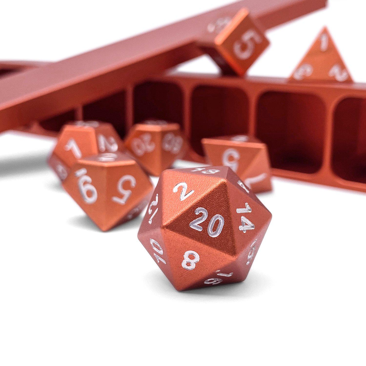 Precision CNC Aluminum Dice Set with Dice Vault – Chromatic Orange Dragon