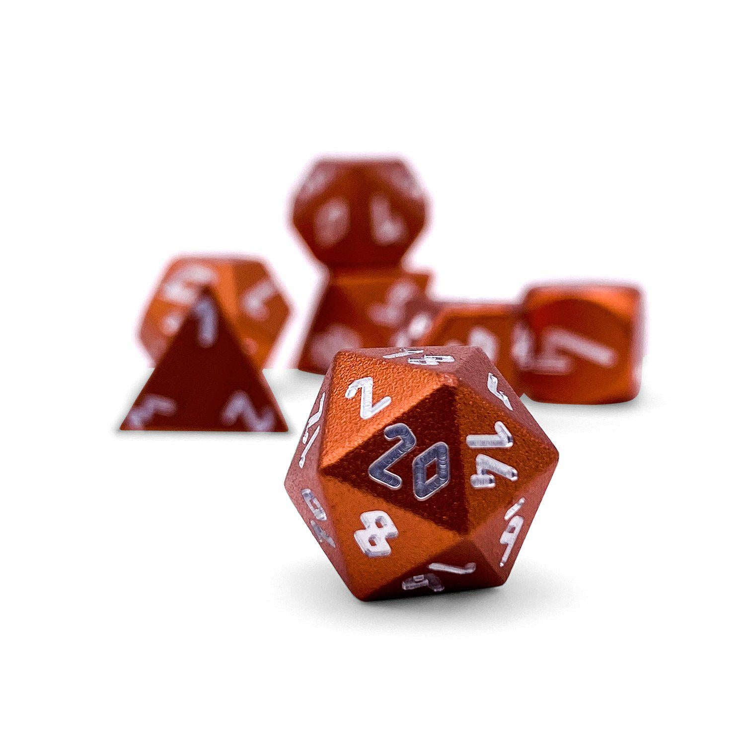Chromatic Dragon Orange Pebble ™ Dice - 10mm 6063 Aircraft Grade Aluminum Mini