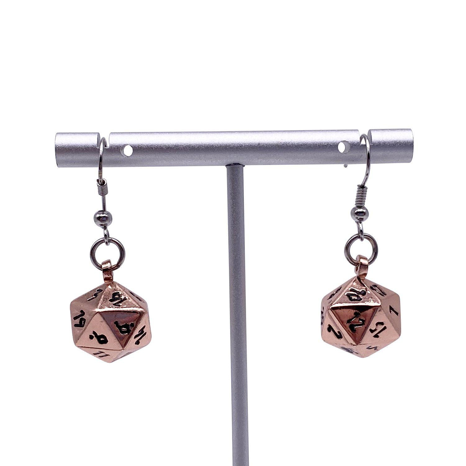 Copper Still - Ioun Stone D20 Dice Earrings by Norse Foundry