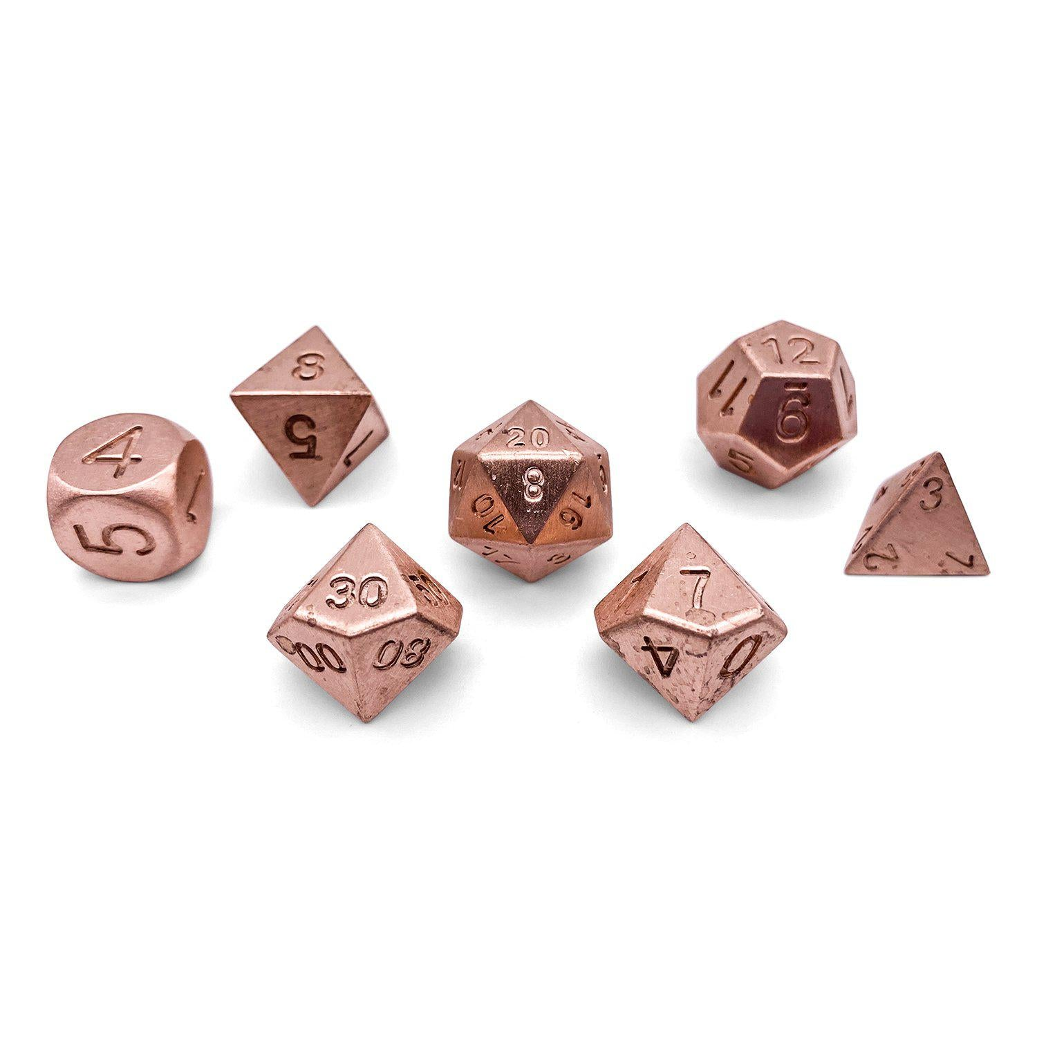 Set of 7 Real Full Copper RPG Dice by Norse Foundry Polyhedral Dice Set