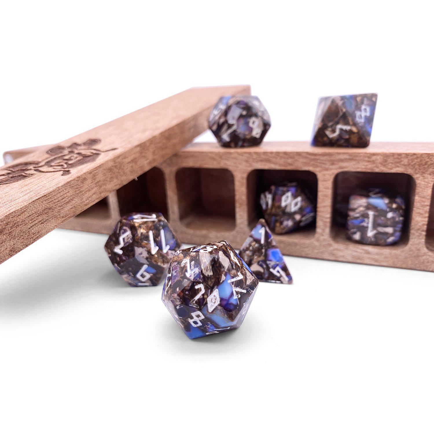 Copper Blue 7 Piece RPG Dice Set Gemstone