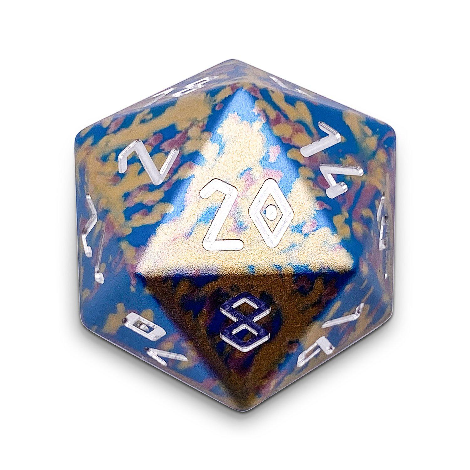 Cotton Candy - Single D20 Wondrous 20mm 6063 Aircraft Grade Aluminum Metal Die