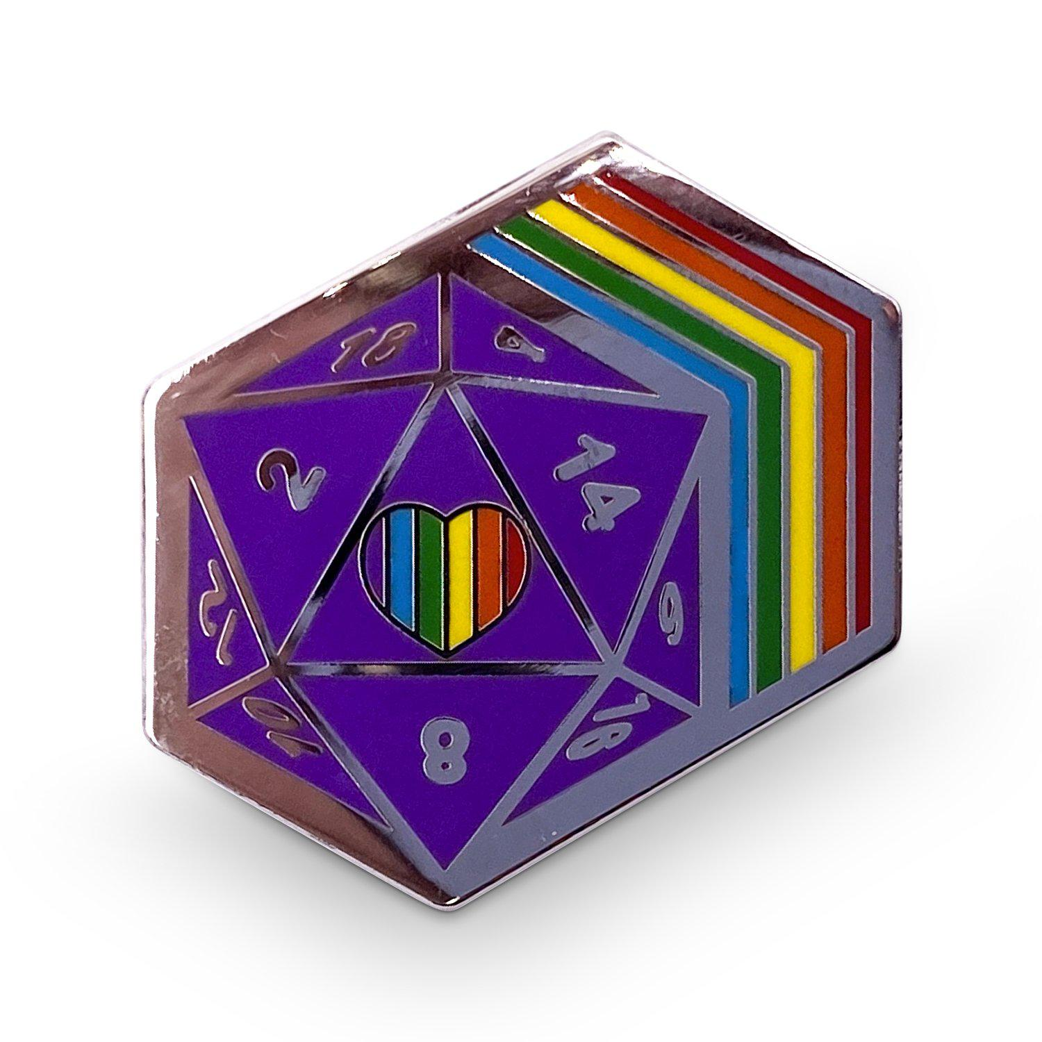 D20 Retro Rainbow Dice Die - Hard Enamel Adventure Dice Pin Metal by Norse Foundry