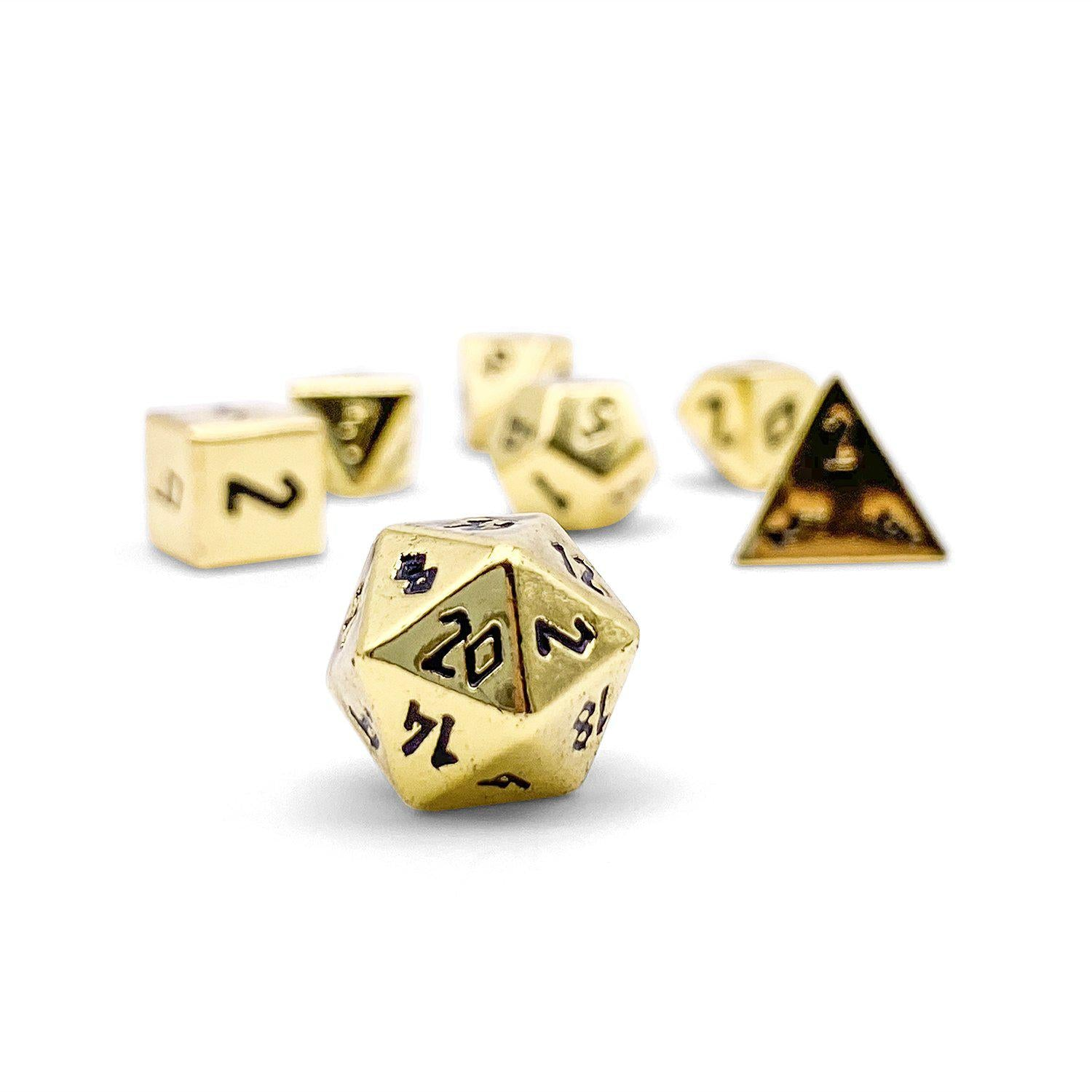 Dead Mans Gold Pebble ™ Dice - 10mm Alloy Mini Polyhedral Dice Set