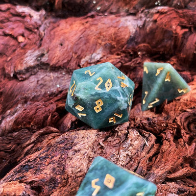 Dark Jade TruStone 7 Piece RPG Dice Set Gemstone