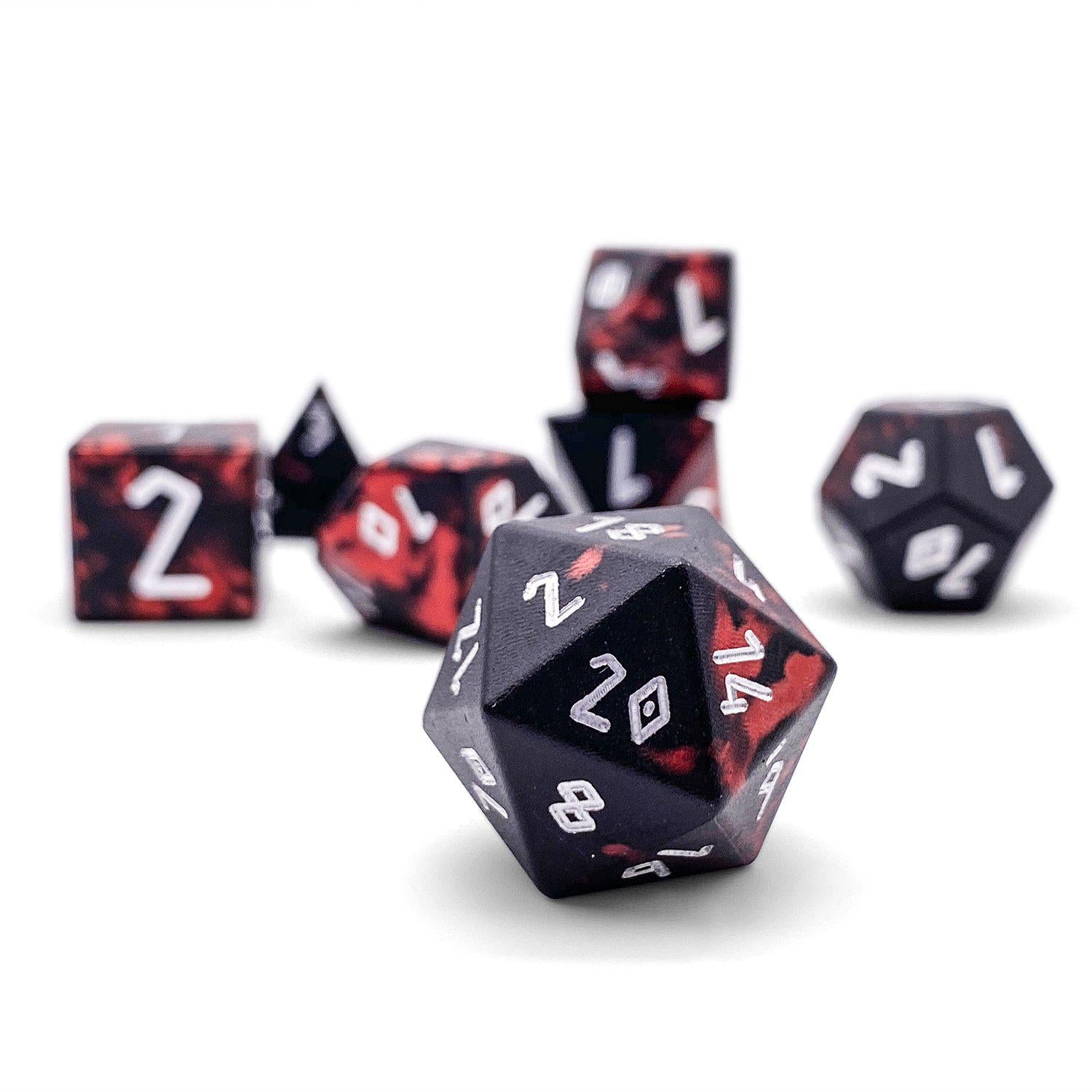 Demons Blood - Wondrous Dice - Norse Font - Set of 7 RPG Dice by Norse Foundry Precision Polyhedral Dice Set