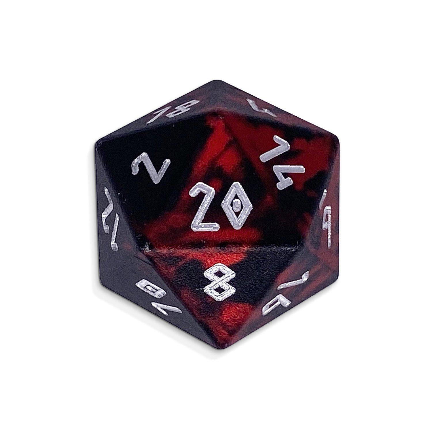 Single Wondrous Dice® D20 in Demons Blood by Norse Foundry 6063 Aircraft Grade Aluminum