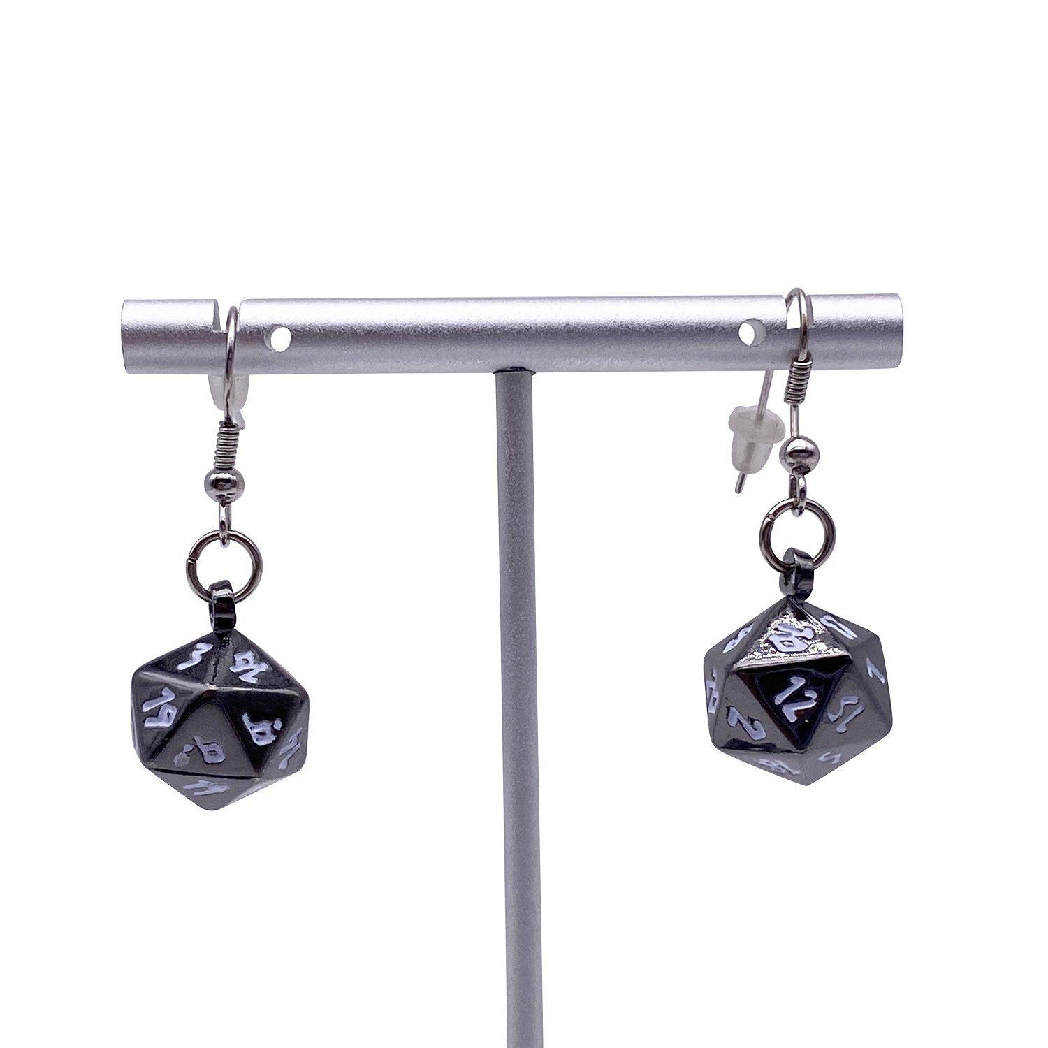 Drow Black - Ioun Stone D20 Dice Earrings by Norse Foundry