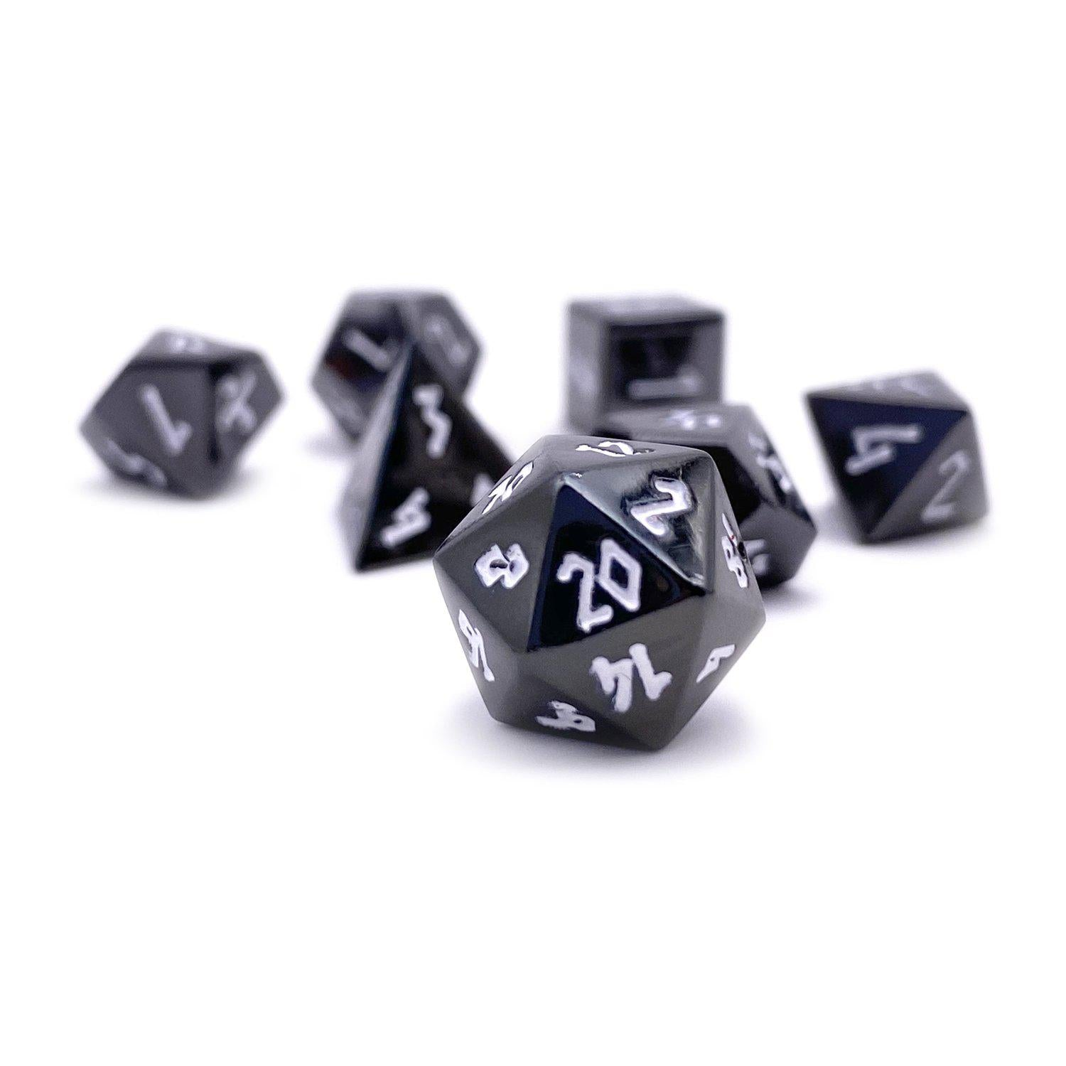 Drow Black Pebble ™ Dice - 10mm Alloy Mini Polyhedral Dice Set