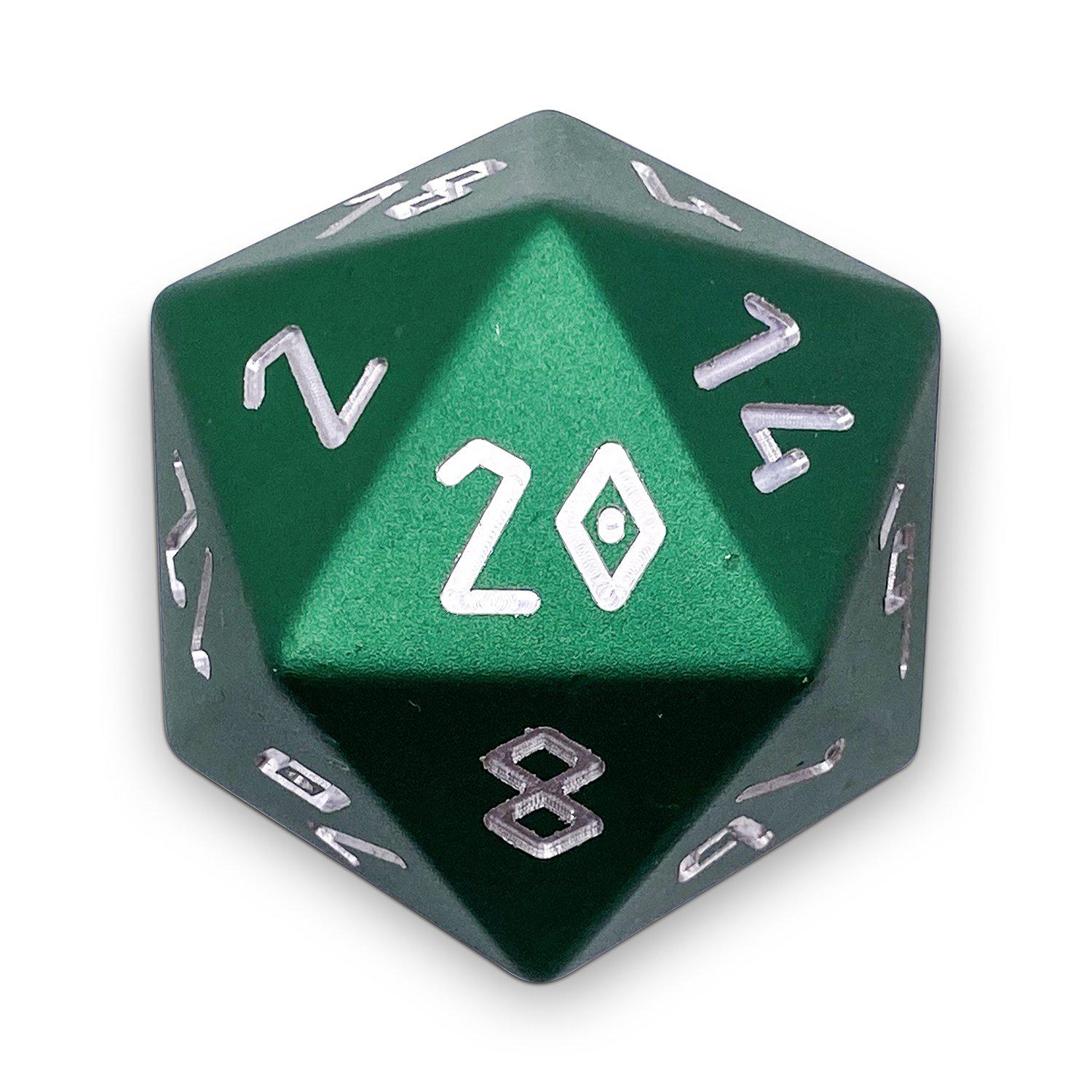 Druid Green - Precision Boulder® 55mm D20 6063 Aircraft Grade Aluminum Metal Die