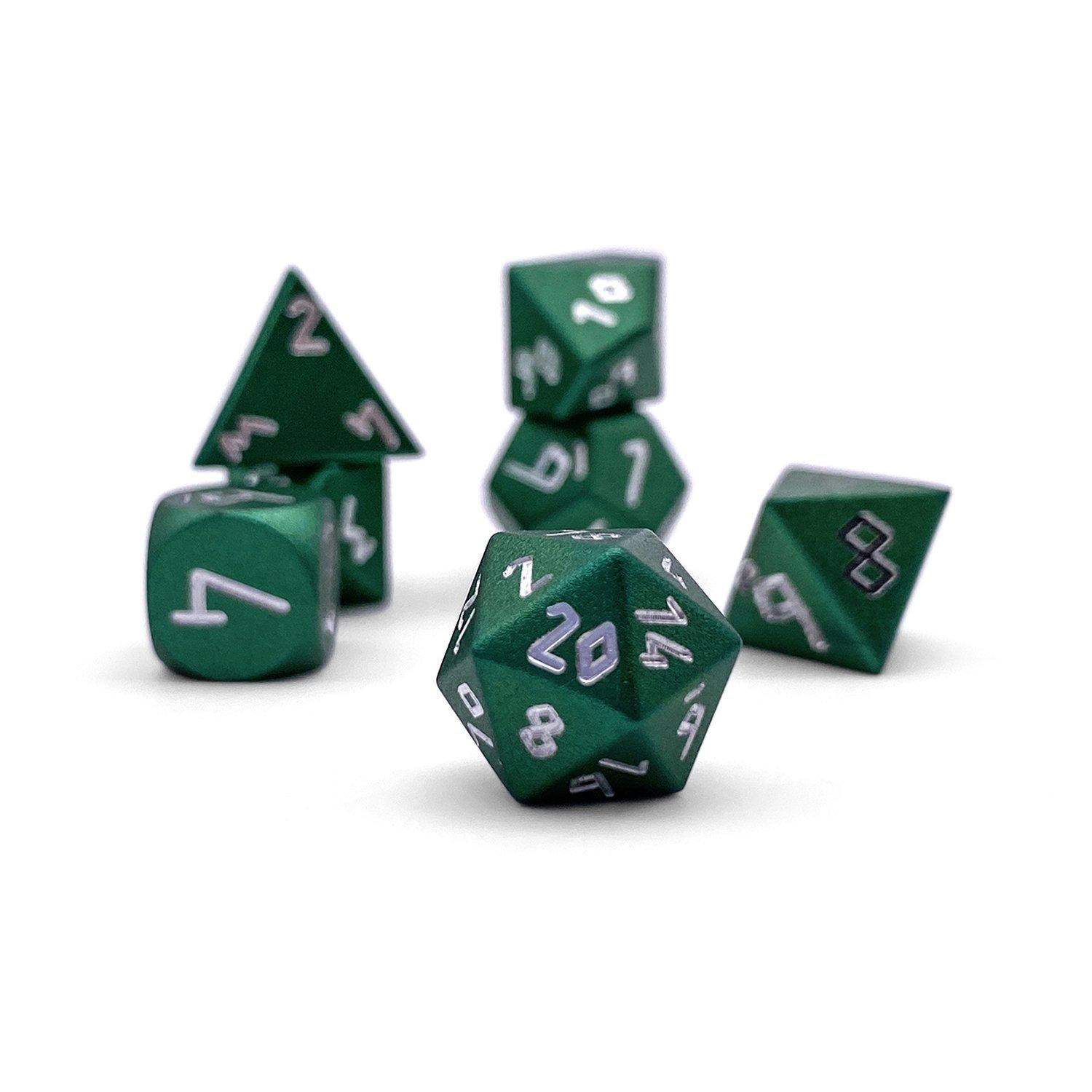 Druid Green Pebble ™ Dice - 10mm 6063 Aircraft Grade Aluminum Mini