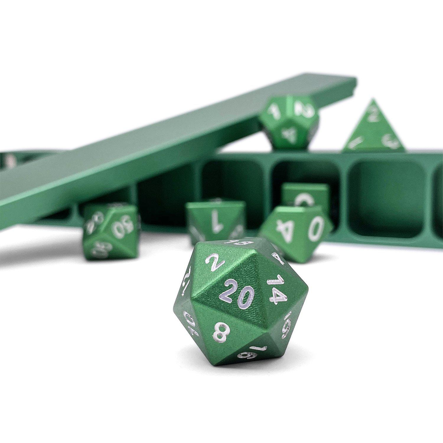 Precision CNC Aluminum Dice Set with Dice Vault – Druid Green