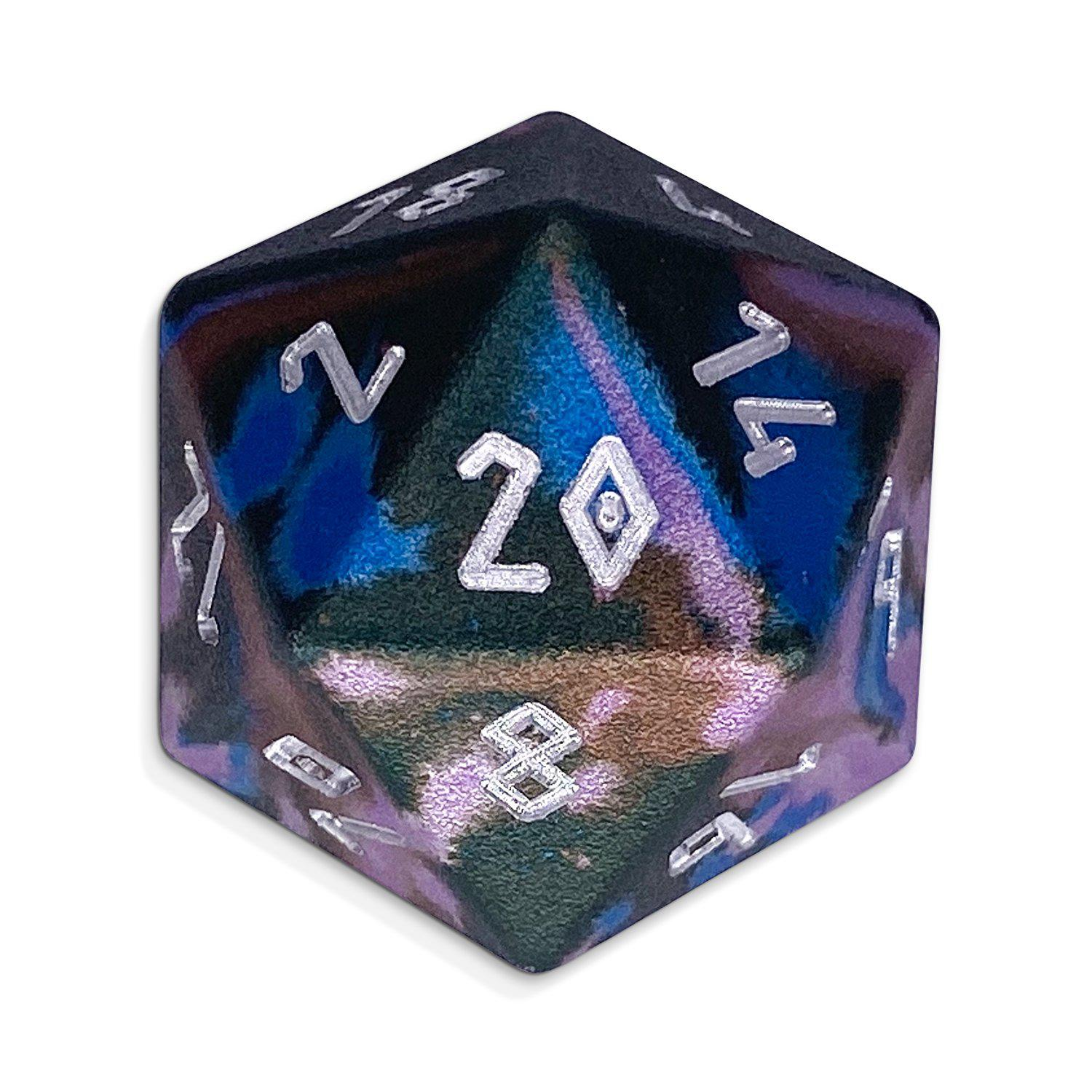 Single Wondrous Dice® D20 in Enchanted Forest by Norse Foundry 6063 Aircraft Grade Aluminum
