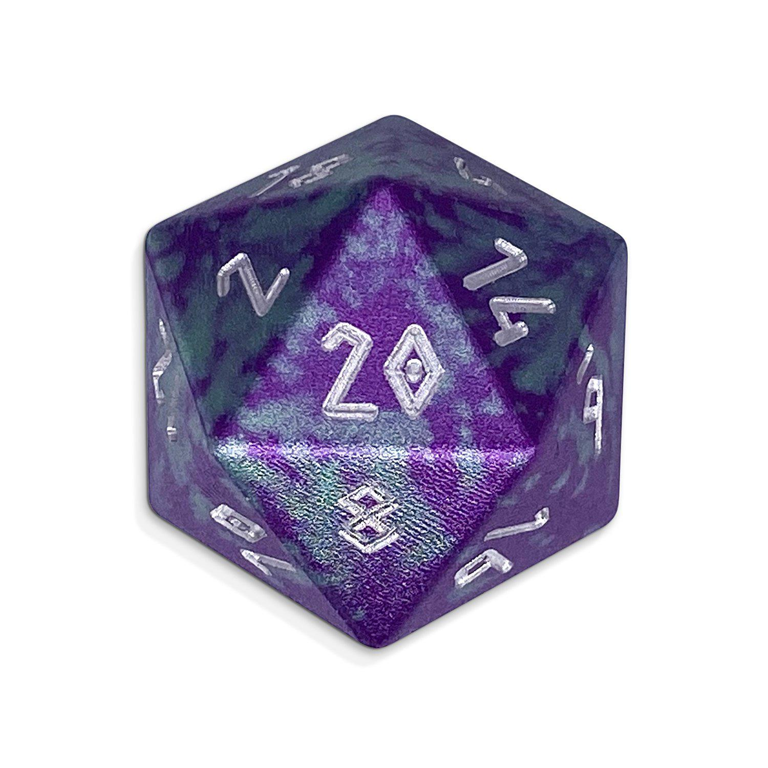 Single Wondrous Dice® D20 in Faerie Fire by Norse Foundry 6063 Aircraft Grade Aluminum