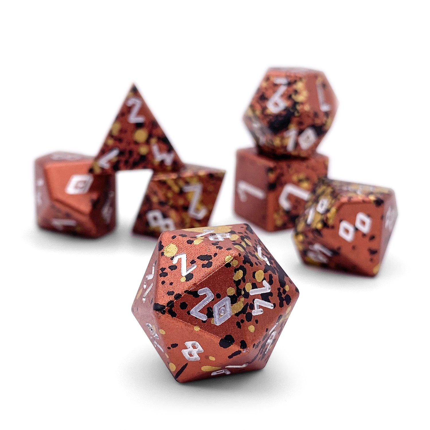 Fire Elemental - Wondrous Dice Set of 7 RPG Dice by Norse Foundry Precision Polyhedral Dice Set