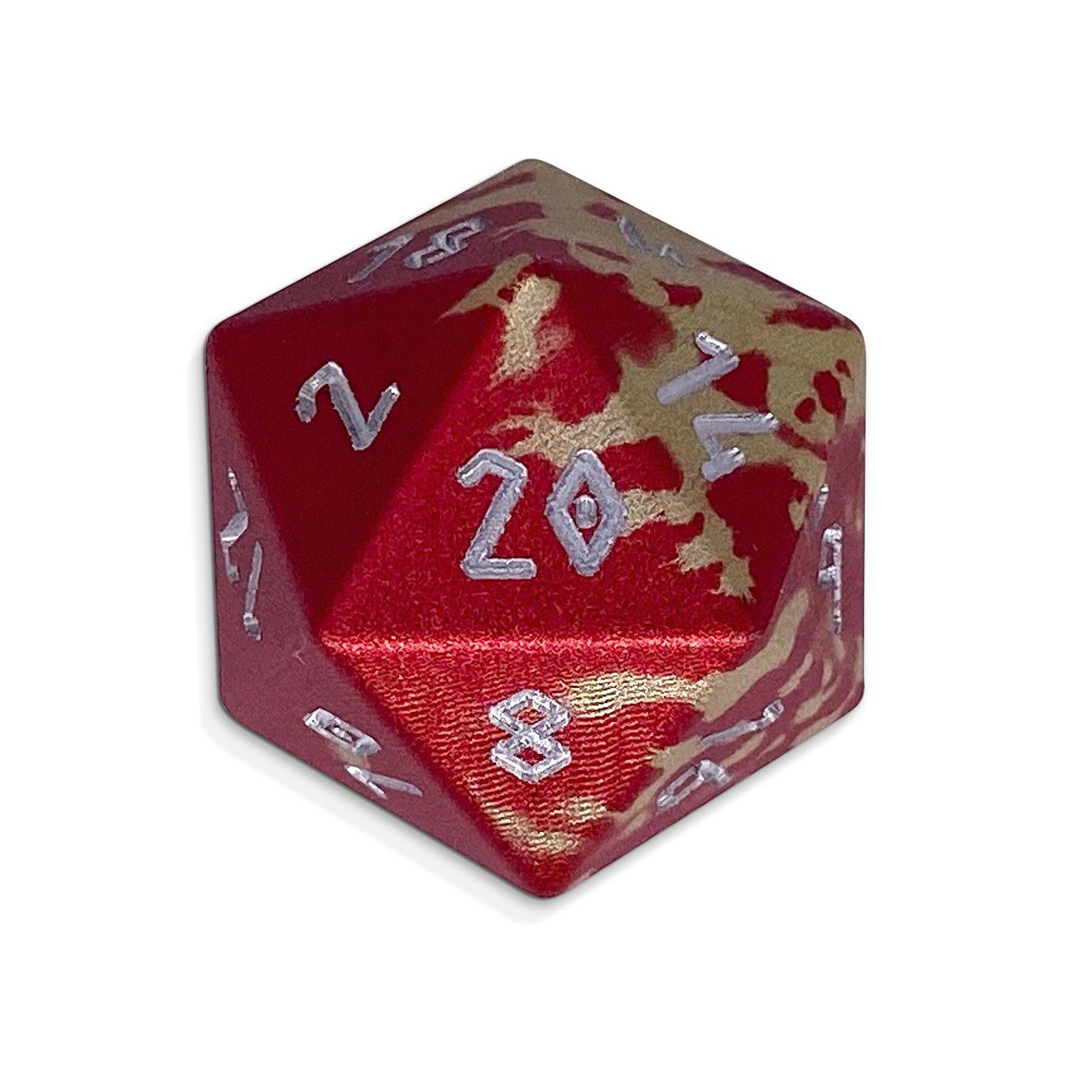 Single Wondrous Dice® D20 in Firebolt by Norse Foundry 6063 Aircraft Grade Aluminum