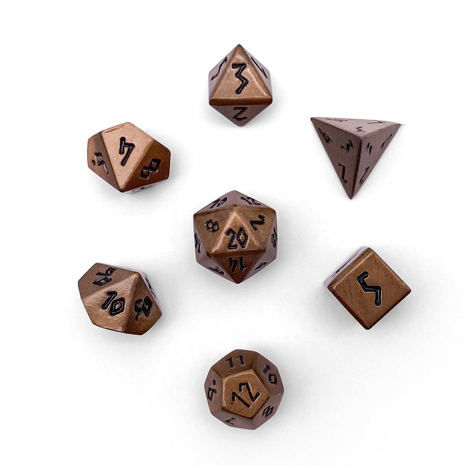 Gnomish Copper Pebble ™ Dice - 10mm Alloy Mini Polyhedral Dice Set