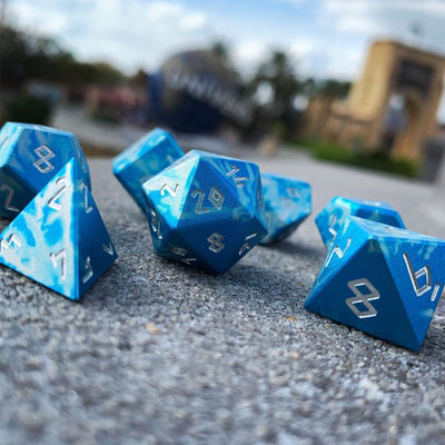 Holy Smite! Norse Font - Wondrous Dice Set of 7 RPG Dice by Norse Foundry Precision Polyhedral Dice Set