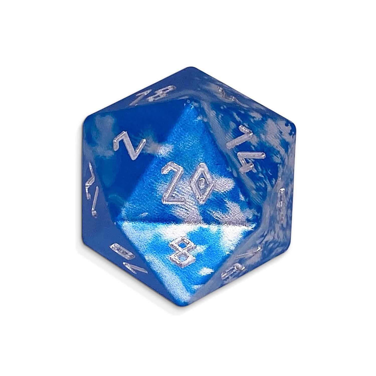 Single Wondrous Dice® D20 in Holy Smite! by Norse Foundry® 6063 Aircraft Grade Aluminum